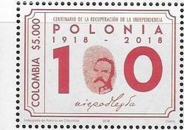 COLOMBIA, 2019, MNH, POLISH INDEPENDENCE,1v - History
