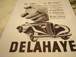 ANCIENNE PUBLICITE GRAND PRIX D ALGERIE VOITURE  DELAHAYE 1935 - Voitures