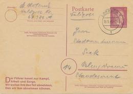 """1945 6 Pf Purpur Adolf Hitler GA-Postkarte M. Propaganda Vordruck """"Der Führer Kennt Nur Kampf, Arbeit Und Sorge. Wir - Germania"""