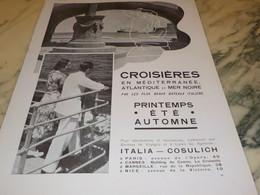 ANCIENNE PUBLICITE CROISIERE MIDITERRANEE 1935 - Boats