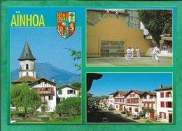 Aïnhoa (64) église Pelote Basque Fronton Rue De La Poste Voitures 2scans - Ainhoa
