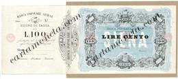 100 LIRE PROVA SU CARTONCINO INEDITO BANCA POPOLARE SENESE 1875/70 BB/SPL - [ 8] Fictifs & Specimens