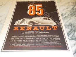 ANCIENNE PUBLICITE VOITURE  MOTEUR 85 RENAULT 1935 - Voitures