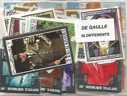 """Lot De 50  Timbres Thematique """" De Gaulle """" - De Gaulle (General)"""