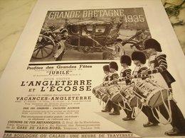 ANCIENNE PUBLICITE VOS VACANCES ET  LE JUBILE LA GRANDE BRETAGNE 1935 - Publicité