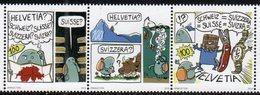 SWITZERLAND, 2019, MNH,FUMETTO COMIC FESTIVAL, MOUNTAINS, BIRDS, COWS, COMICS,3v - Bandes Dessinées