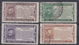 Saint-Marin N° 168 / 71  O, Partie De Série : Cinq. Mort  Garibaldi Les 4 Vals Oblitérées Ou Trace De Charnière Sinon TB - Saint-Marin