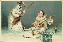 Themes Div-ref CC494- Carte Fantaisie Gaufrée - Pierrot Et Le Bonhomme De Neige - Snowman - Dorures Par Endroits - Phantasie