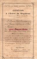 87 - SAINT JUNIEN- CITATION A L' ORDRE DU REGIMENT 1917- ANTOINE VERGNAUD- 128 E DIVISION-100 E REGIMENT INFANTERIE - Documenti Storici