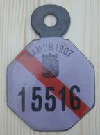 Plaque Vélo  Province De Namur 1907 Demi Année - Plaques D'immatriculation