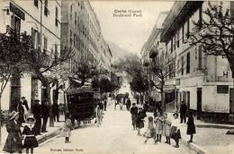 CORSE - CORTE - Boulevard Paoli - Très Belle Animation Devant Le Grand Hôtel - Enfants - Ed. E. Breteau - France