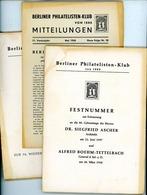 Berliner Philatelisten Klub Von 1888 - Nr. 27 Bis 29 Jahrgang 1958 - Zeitschriften