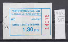 46K387 /  2007 - 1.30 Leva - BUS , Autotranssanab SOFIA , Ticket Billet , Bulgaria Bulgarie Bulgarien Bulgarije - Europa