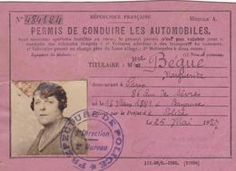 PERMIS  DE  CONDUIRE  LES  AUTOMOBILES  .  1927  .  (  SCANS  R° V° )  . - Titres De Transport