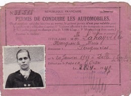 PERMIS  DE  CONDUIRE  LES AUTOMOBILES   .  1943  . - Titres De Transport