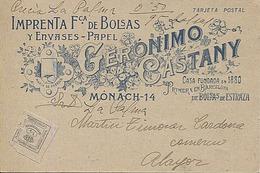 118131 CATALUNYA BARCELONA CIUDAD C. MONACH 14 IMPRENTA Fca BOLSAS Y ENVASES PAPEL GERONIMO CASTANY PRECURSOR ANTES 1904 - Barcelona