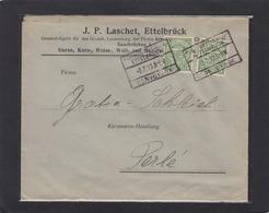 BAHNPOST/AMBULANT: KLEINBETTINGEN-ETTELBRUCK. WOLLMANUFACTUREN EN GROS,ETTELBRÜCK & SAARBRÜCKEN. - 1907-24 Abzeichen