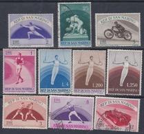 Saint-Marin N° 383 / 93 X,  O, Sauf 391 Sports Sujets Divers, La Série Incomplète Des 10 Vals X Ou O  Sinon TB - Saint-Marin