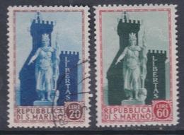 Saint-Marin N° 394 X +395  O, Statue De La Liberté Et Palais Du Gouv. Les 2 Vals Oblitérées Ou Trace De Char. Sinon TB - Saint-Marin
