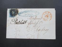 Belgien Um 1875 Beleg Von Liege Nach Charleroy Mit Rotem Stempel K2 Liege Nummernstempel 73 - 1849-1865 Medallions (Other)
