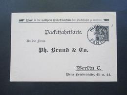 DR Privatpost Ganzsache 1899 Packetfahrtkarte Mit Firmenzudruck Ph. Brand & Co. Berlin Bezüglich Offerte - Private