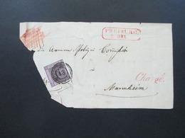 AD Um 1851 Baden Nr. 4 Mit Nummernstempel 43 Und Rotem L1 Chargé Und Freiburg Großes Briefstück!! - Bade