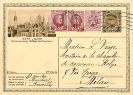 Belgique. CPI 10-12 + TP 246 (x 2) & 284  Bruxelles 1 > Milano  1931 - 1922-1927 Houyoux