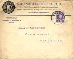 Belgique. TP 197 L. Leuze > Bruxelles  1924  Auto-Moto Club Du Hainaut - 1922-1927 Houyoux