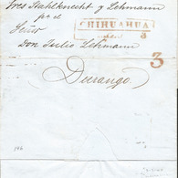 J) 1849 MEXICO, 3 REALES, RED CANCELLATION, CIRCULATED COVER FROM CHIHUAHUA TO DURANGO - Mexico