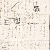 J) 1843 MEXICO, 3 REALES, BLACK BOX, CIRCULATED COVER, FROM PUERTO DE MAZATLAN TO DURANGO - Mexico