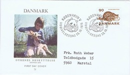 Denmark 1975; Animal Protection - WWF.  FDC With Panda Postmark - FDC