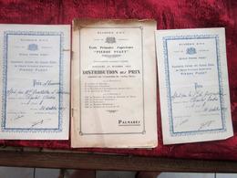 1937 PIERRE PUGET ÉCOLE PRIMAIRE SUPÉRIEURE DISTRIBUTION PRIX  PROMOTION-L.CONIL MARSEILLE+2 DIPLÔMES PRIX-LIRE 100 PAGE - Diplômes & Bulletins Scolaires