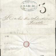 J) 1851 MEXICO, 3 REALES, OVAL CANCELLATION BLUE, CIRCULATED COVER, FROM SAN JUAN DE TABASCO TO TUXTLA - Mexico