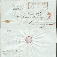J) 1845 MEXICO, 2 REALES RED CANCELLATION, CIRCULATED COVER, FROM PUERTO MAZATLAN TO DURANGO - Mexico