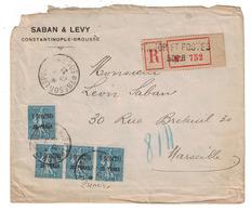 1921 - LEVANT SEMEUSE N° 34 (BANDE) OBL. CAD TRESOR ET POSTES 506B Sur LETTRE RECOMMANDÉE CONSTANTINOPLE BROUSSE TURQUIE - Levant (1885-1946)