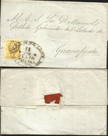 J) 1857 MEXICO, UN REAL YELLOW, OVAL CANCELLATION, CIRCULATED COVER FROM INTERIOR MAIL WITHIN TO GANAJUATO - Mexico