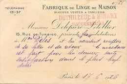 Themes Div-ref CC446- Paris - Commerce - Fabrique De Linge De Maison  Duthilleul Et Minart - Rue De Turbigo Paris 3eme - - Commerce