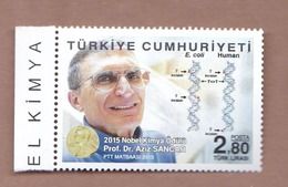 AC - TURKEY STAMP - 2015 NOBEL PRIZE IN CHEMISTRY, DNA Prof Dr. AZIZ SANCAR  MNH 10 DECEMBER 2015 - 1921-... Repubblica
