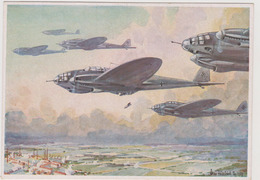 Schwere Bomber Greifen Industrie-Zentrum An, II°WW,  Illustrata   - F.G. -  Anni '1940 - Weltkrieg 1939-45