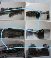 Photosx8 PENICHE Belge 1965 En Cale Sèche Binnenscheepvaart Barge Péniche - Schiffe