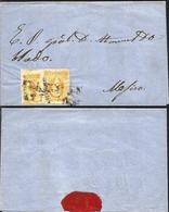J) 1857 MEXICO, UN REAL YELLOW, PAIR, CIRCULATED COVER, FROM QUERETARO TO MEXICO - Mexico