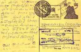 India Postal Stationery Tiger 15 Malaria Mosquito Ahmedabad Cds - Interi Postali