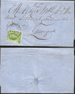 J) 1857 MEXICO, 2 REALES GREEN, CIRCULATED COVER, FROM MEXICO TO GUANAJUATO - Mexico