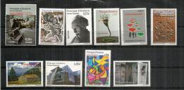 Année Complète  2012.   10 Timbres Neufs ** Inclus 2 Hautes Faciales Patrimoine Culturel.  Côte 44,00 Euro - Spaans-Andorra