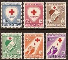 Indonesia 1956 Rode Kruis, Red Cross ZBL 179-184, MNH** Postfrisch - Indonesië