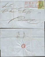 J) 1858 MEXICO, 2 REALES, RED BOX CANCELLATION, CIRCULATED COVER, FROM MAZATLAN TO DURANGO - Mexico