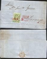 J) 1857 MEXICO, 2 REALES GREEN, RED BOX CANCELLATION, CIRCULATE COVER, FROM MAZATLAN TO DURANGO - Mexico