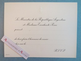 Carton D'invitation Ministre République Argentine Mme Escalante Posse Argentina - Documents Historiques