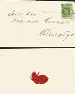 J) 1857 MEXICO, 2 REALES GREEN, CIRCULAR CANCELLATION, CIRCULATED COVER, FROM MEXICO TO DURANGO - Mexico