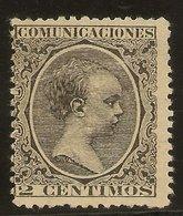 España Edifil 214(*) Mng  2 Céntimos Negro  Alfonso XIII Pelón  1889/1901 NL1480 - 1889-1931 Kingdom: Alphonse XIII